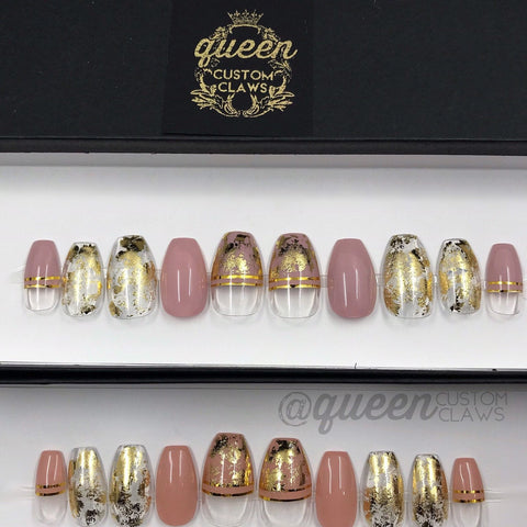 Gold & Glass Peek-A-Boo press on nails