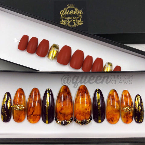 Amber Gemstone Jelly press on nails