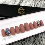 Matte Nude & Bling press-on nail