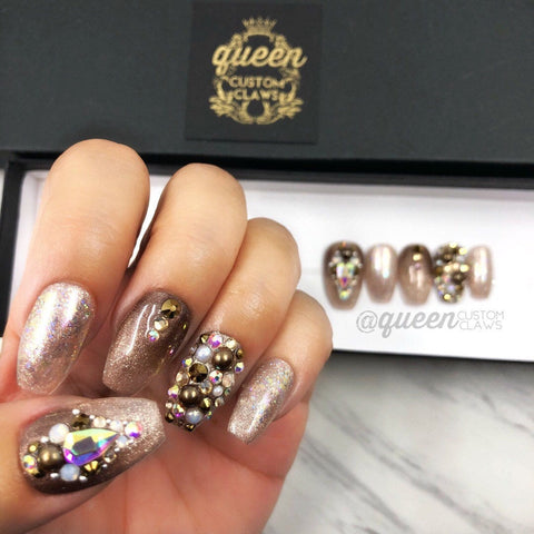 Smoky Topaz Sparkle Press on Nails