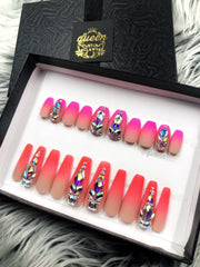 Shí Shi Gorgeous Neon to Nude Boomer Ombre- press-on nails