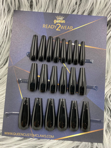 Ready2Wear | Vinyl : long shiny Coffin Press-on nails