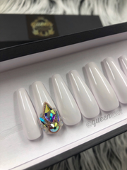 White Wedding-Bling  press on nails