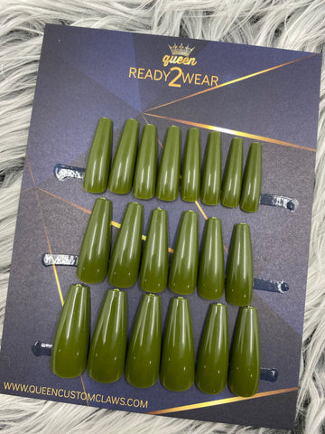 Ready2Wear | Olivine: Xtreme coffin Press-on nails