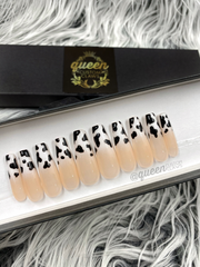 Cow Tipping- Baby Boomer pink & white Ombre- press-on nails