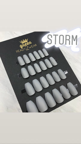 Ready2Wear | Coffin Matte Blues Press-on nails