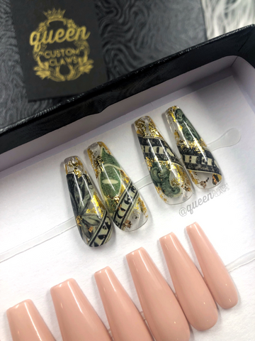 Money Money Accent press on nails