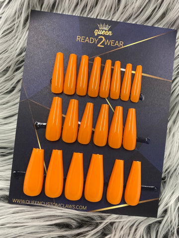 Ready2Wear | Orange Dreamcicle : long Stiletto Press-on nails