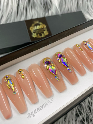 High Class- naked bling press on nails
