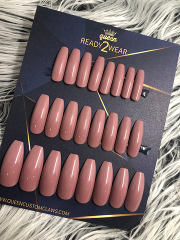 Ready2Wear | Mauve : long shiny Coffin Press-on nails