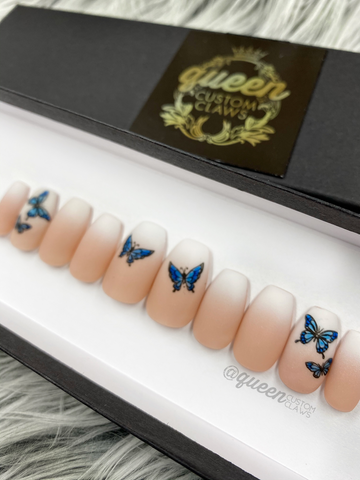 Butterfly Boomer French Ombre- press on nails