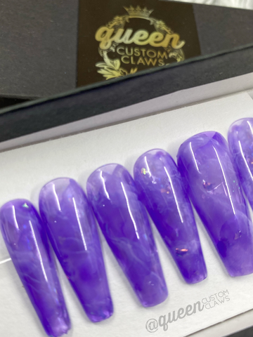 Amethyst  quartz- press on nails