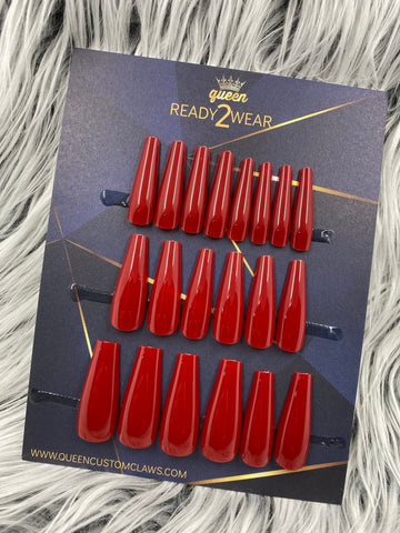 Ready2Wear | Ruby : long shiny Coffin Press-on nails