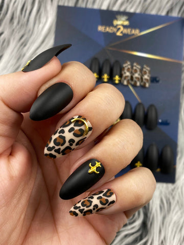 Ready2Wear HMA| Royal Leopard Noir: almond/soft stiletto Press-on nails