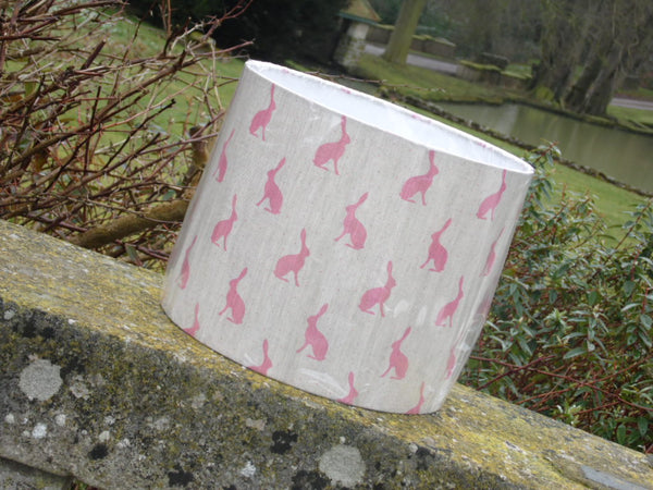 30cm handmade lampshade in Peony and Sage mini Hares, in Cherry on Stone