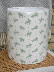 Handmade 20cm Drum Lampshade in Robin Roadnight Willow Horses