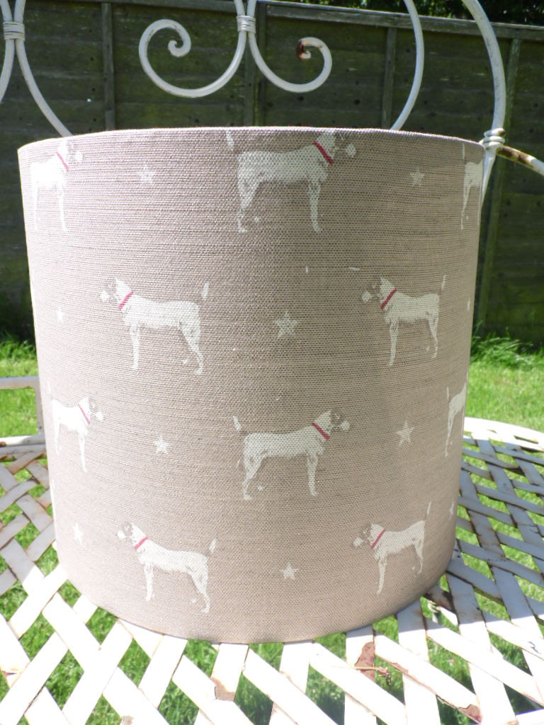 30cm Drum Lampshade in peony and Sage Jack All Star 'Mole' on Oatmeal linen