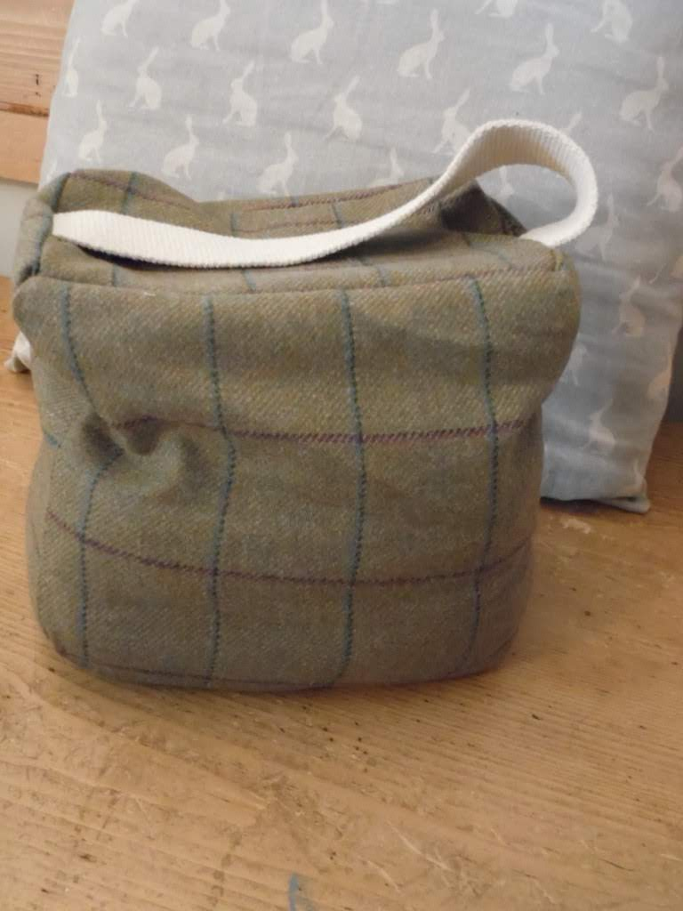 Handmade Tweed door stop in Abraham moon Tweed fabric