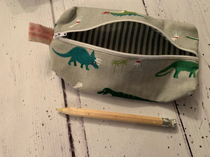 Handmade pencil case in Dinosaurs by Sophie Allport