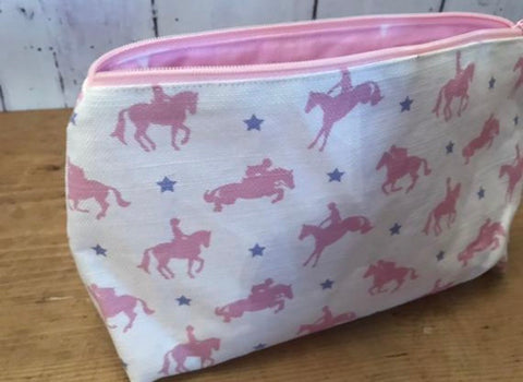 Handmade make up bag in Candyfloss Horses by Robin Roadnight