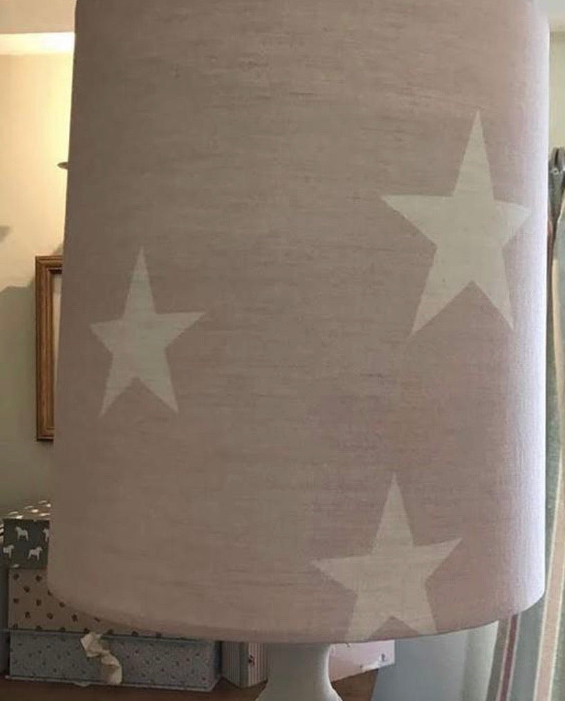 Handmade 25cm Lampshade in Big Star by Peony and Sage Pink icing