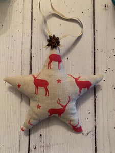 Handmade Star filled with Christmas Spice . In Peony and Sage red stags
