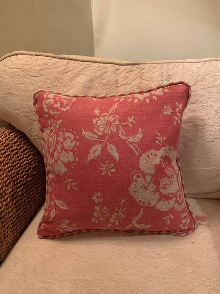 Beautiful piped Cushion in Elise Raspberry by Jacqueline Milton