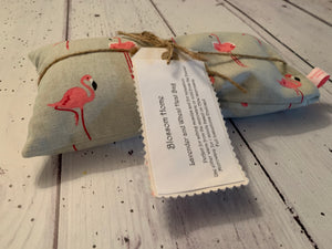 Wheat and Lavender Heat pack. In Sophie Allport Flamingo