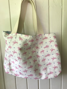 Handmade reversible bag with canvas straps In Robins Roadnight Pink horses