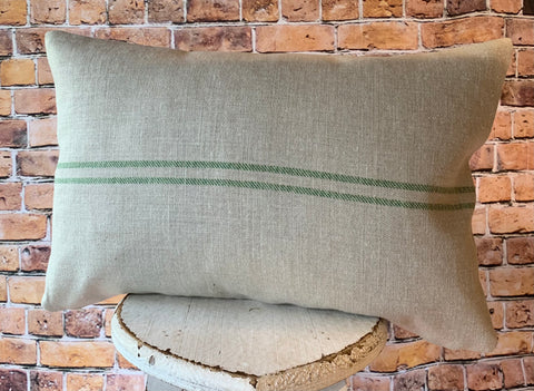 Fabulous plain oblong cushion in Emerald Grainsack by Peony and Sage