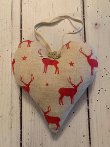 Handmade Heart in Peony and Sage Red Stags with stars