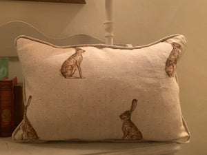 Handmade piped oblong Cushion in Mr Hare By Peony and Sage