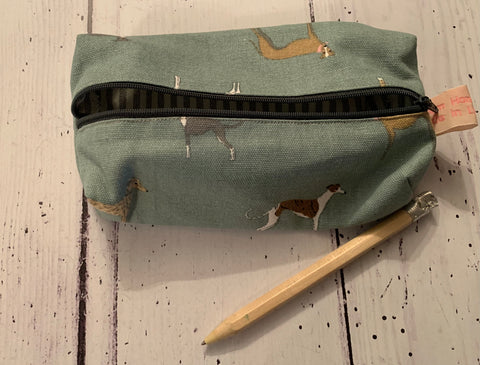 Handmade pencil case in Running dogs by  Sophie Allport