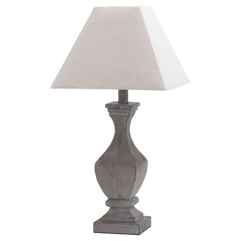 Incia Fluted table Lamp in a darker  grey distressed finish