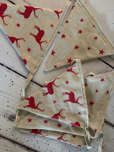 Peony and Sage Red Stag and Star handmade bunting