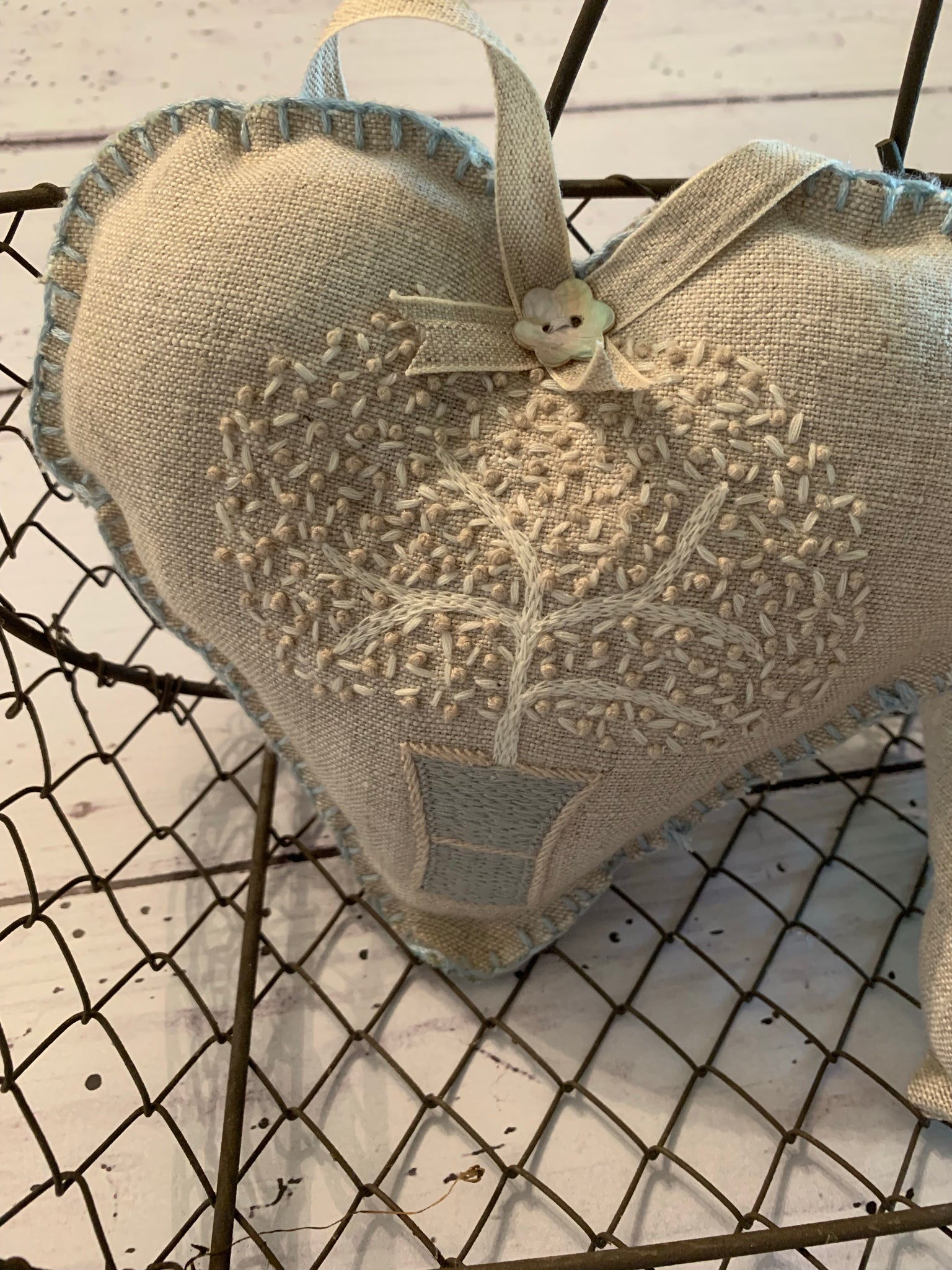 Peony and Sage Embroidered Lavender Heart