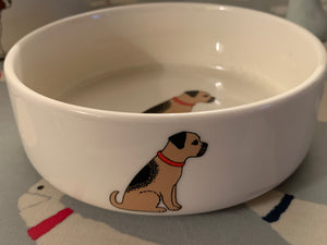 Small Dog bowl featuring a lovely 'Pug' by sweet William Dog Bowl