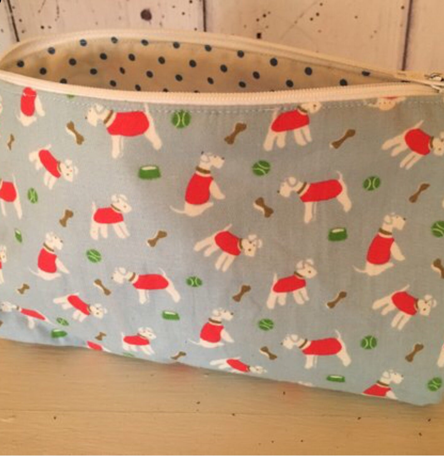 Handmade make up bag in Cath Kidston Stanley fabric with spotty lining