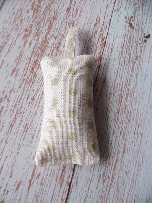 Lavender filled hanging sachet in pretty green spotty by  Sarah Hardaker