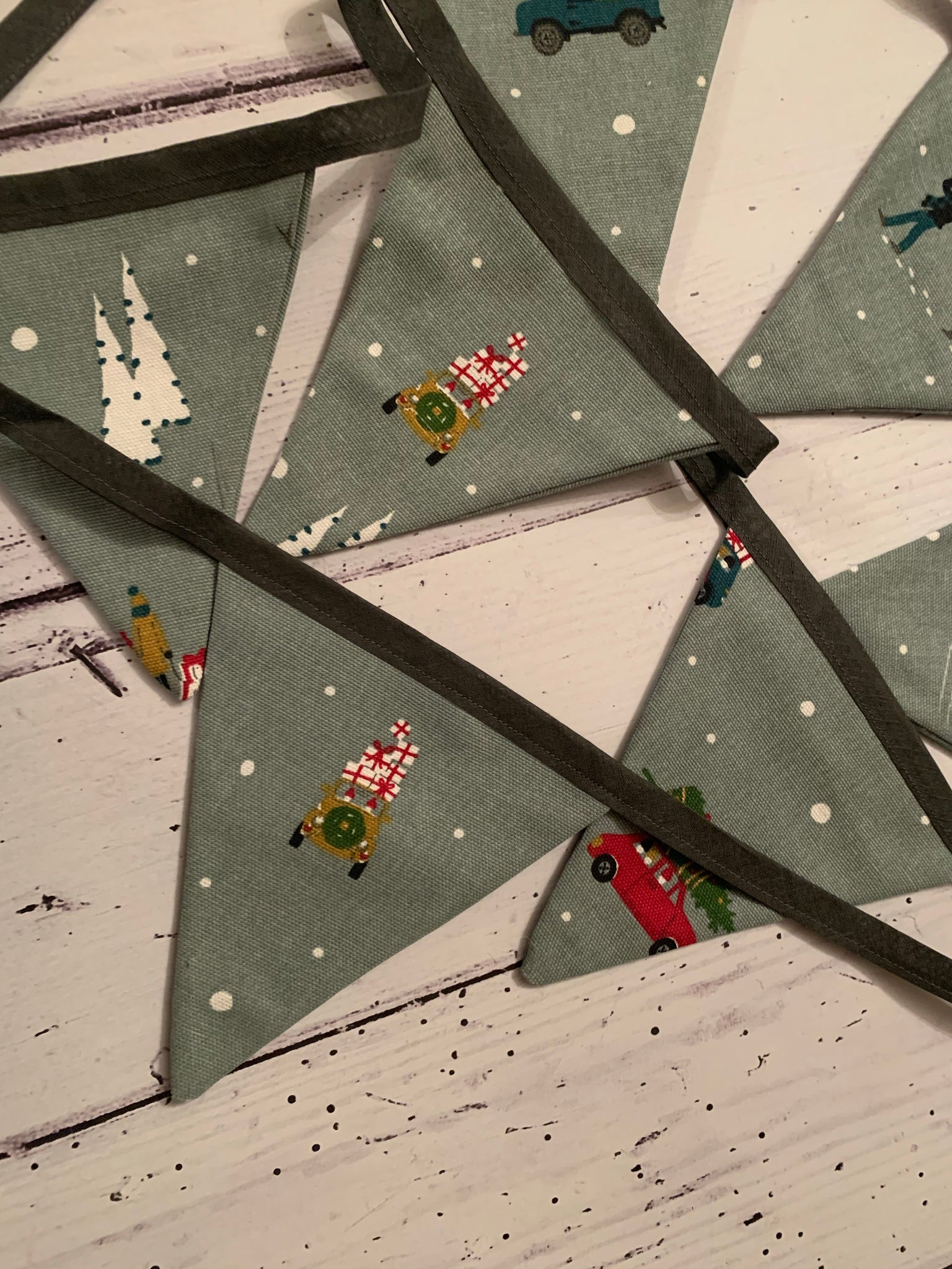 Handmade Christmas Bunting  in Sophie Allport 'Home for Christmas' 7 flags
