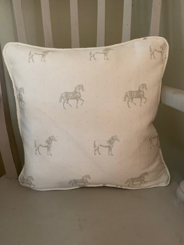 Handmade piped Cushion in Light Bay Horses on a white by Meg Morton
