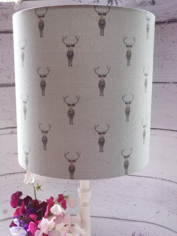 30cm handmade drum lampshade in Sophie Allport 'Stags'