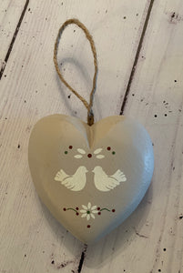 Painted wooden hanging  heart  Doves