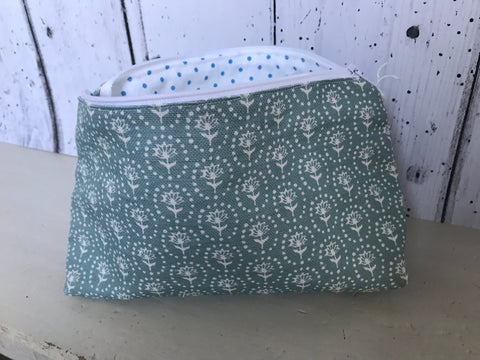 Handmade Make up bag in Olive and Daisy Daisy fabric with a pretty Cabbages and Roses Spotty lining