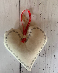 Handmade small lavender infused heart with embroidered grey daisies