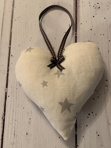 Beautiful lavender scented heart in  Grey stars on white linen by Flohr &Co