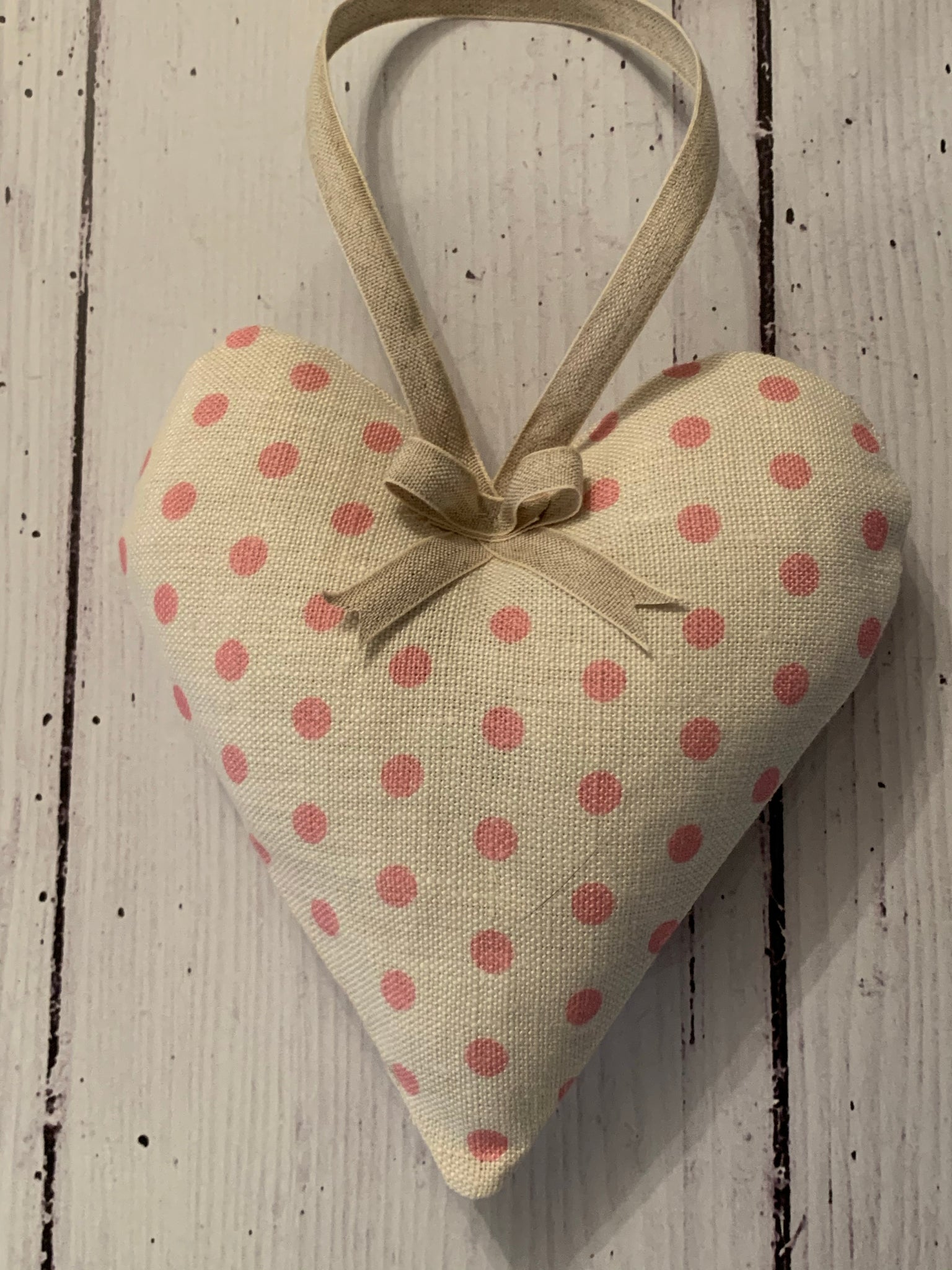 Handmade lavender infused Heart in Pink spotty by Sarah Hardaker