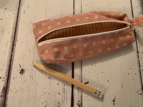 Handmade pencil case in pink spotty  by Sarah  Hardaker