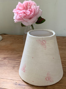 Candle  Clip Lampshade in Blush Pink Busy Bees by Peony and Sage