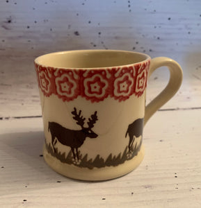 Small Mug with Reindeer pattern by Brixton Pottery